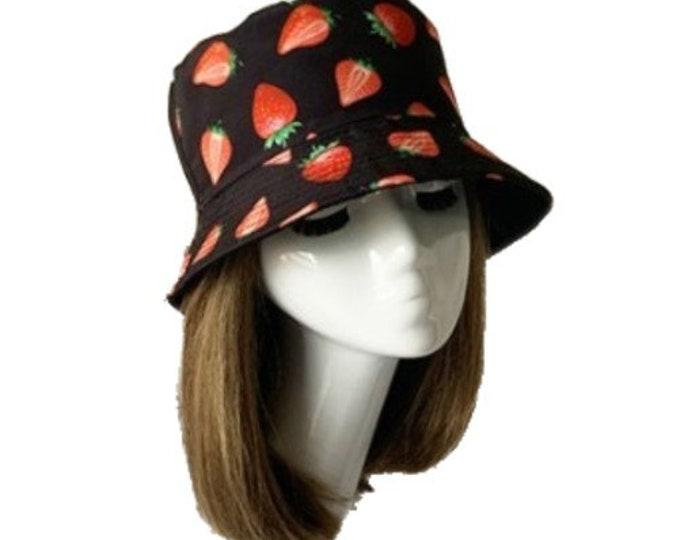 Strawberry Strawberries Bucket Hat Cap Hip Hop Fishing Fisherman Unisex Hats