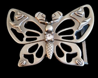 Amazing Antique Victorian Edwardian Art Nouveau Cut Steel Butterfly Butterflies Double Circle Circular Sash Pin Belt Buckle Gold Silver Tone
