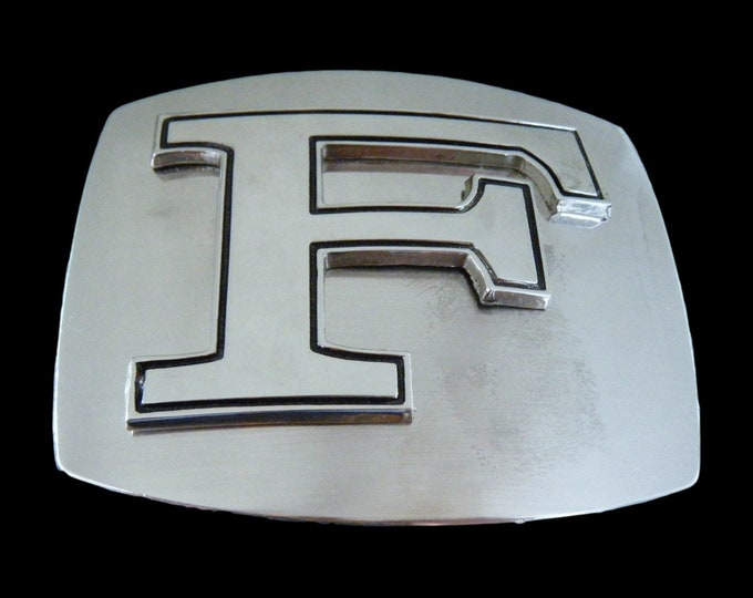 Initial F Letter Name Tag Monogram Chrome Belt Buckle Buckles