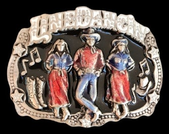 Line Dance Dancing Country Western Music Belt Buckle