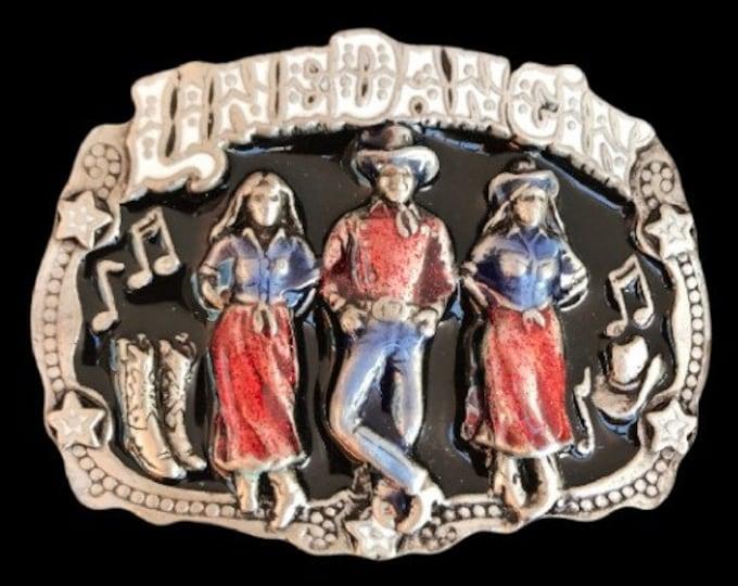 Line Dance Dancing Country Western Music Belt Buckle