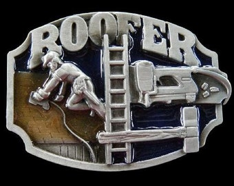Roofer Construction Worker Equipment Pewter Profession Belt Buckle