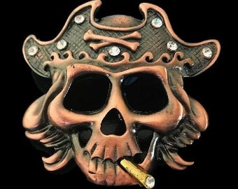 Human Skull Bones Evil Cigar Pirate Punk Belt Buckle Buckles