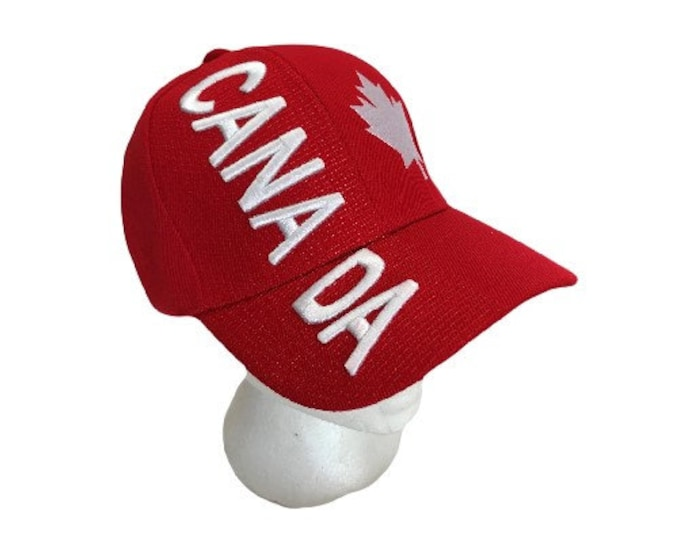 Canada Flag Soccer Baseball Hat Cap Red Mapleleaf