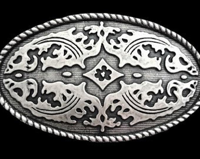 Western Oval Belt Buckle  Hippie Era Floral Women's Belts & Buckles