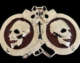 Handcuffs Skulls Evil Skeleton Police Gun Belt Buckle Buckles
