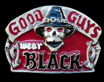 Skull Head Skeleton Gothic Good Guys Wear Black Belt Buckle Buckles