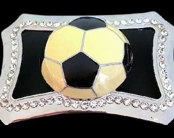 Rhinestone Soccer Ball Football Sport Game Belt Buckle