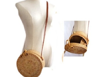 Rattan Bag Handcrafted Vintage Style Woven Cross-body Bags Shoulder Handbag Straw