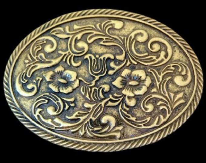 Floral Design Western Metal Oval Belt Buckle Flowers Cowgirl Buckles