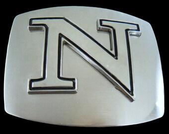 Initial N Letter Name Tag Monogram Chrome Belt Buckle Buckles