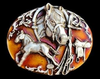 Horse Horses Horseshoe Saddle Western Cowboy Belt Buckle