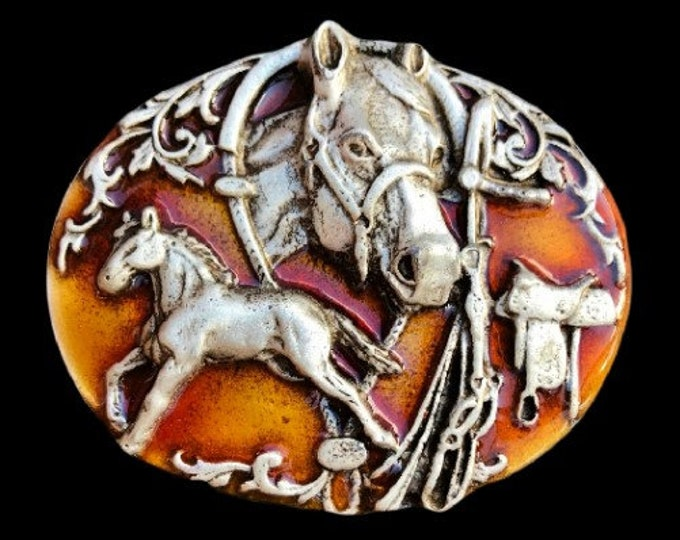 Horse Horses Horseshoe Saddle Western Cowboy Belt Buckle