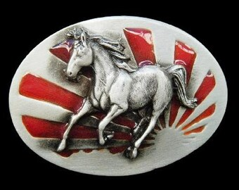 Japan Galloping Horse Rising Sun Country Japanese Flag Belt Buckle
