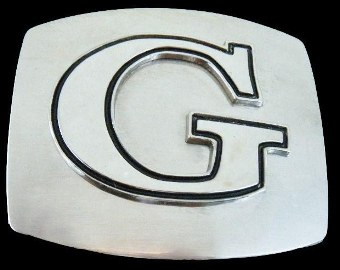 Initial G Letter Name Tag Monogram Chrome Belt Buckle Buckles