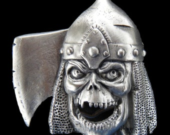 Gore Human Skull Bone Skeleton Ax Hat Mask Belt Buckles