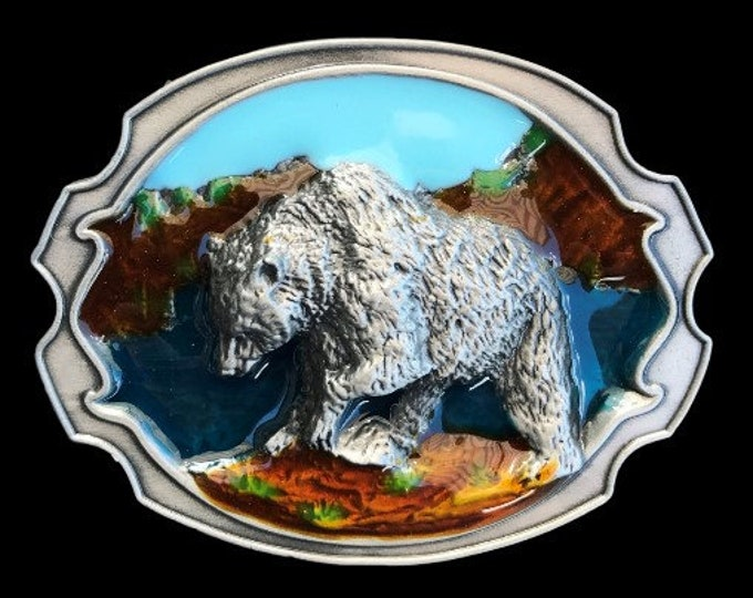 Alaska Grizzly Bear Wildlife Western Belt Buckle Buckles