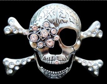 Rhinestone Skulls Crossbones Skeleton Cool Belt Buckles