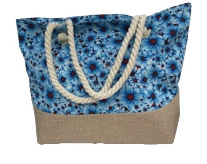 Large Capacity Zipper Handbag Shopping Travel Tote Shoulder Floral Beach Bag