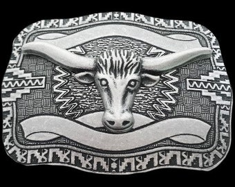 Detailed Western Texas Longhorn Cowboy Rodeo Belt Buckle