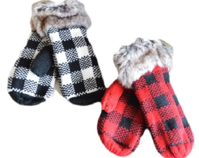 Soft Warm Faux Fur Red Black White Buffalo Check Plaid Winter Mittens