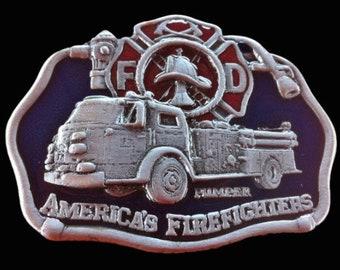 FD American Fire Fighters With Fire Truck Belt Buckle