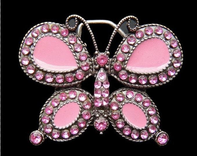 Pink Monarch Butterfly Butterflies Insect Rhinestones Belt Buckle Buckles