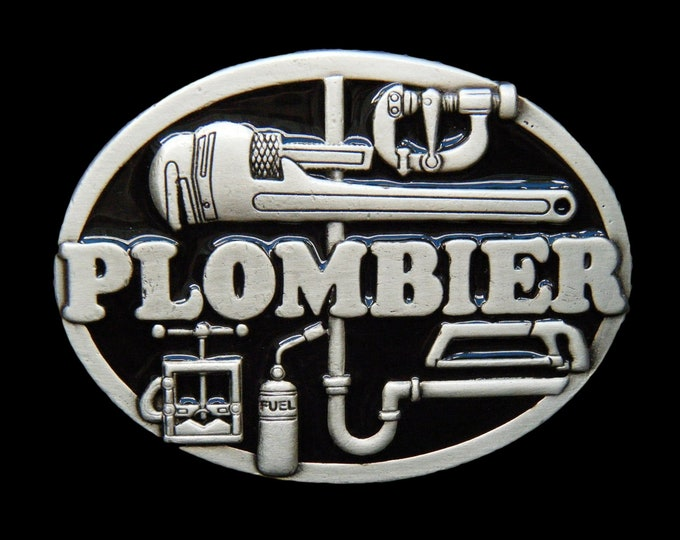 Plombier French Plumber Fixing Pipes Worker Tools Profession Belt Buckle