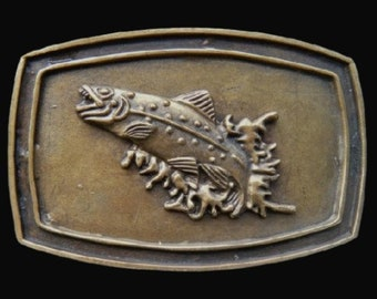 Fish Fishing Sport Trout Bass Lake Fishermen Vintage Belt Buckles!