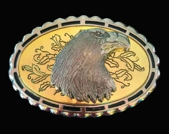 Western Golden Eagle Head Belt Buckle