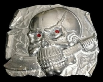 Pirate Skull Swords Human Belt Buckle