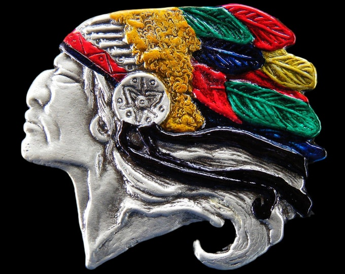 Native Indian Chief American Head Colorful Feathers Belt Buckle Buckles