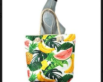 Large Capacity Zipper Handbag Shopping Travel Tote Shoulder Beach Bag Fruits