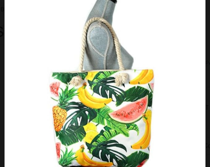 Large Capacity Zipper Handbag Shopping Travel Tote Shoulder Beach Bag Fruits