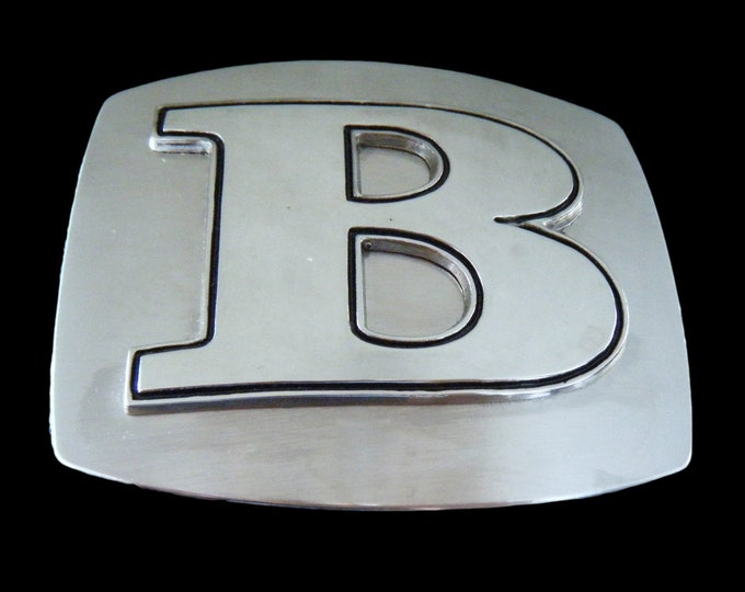 Initial B Letter Name Tag Monogram Chrome Belt Buckle Buckles