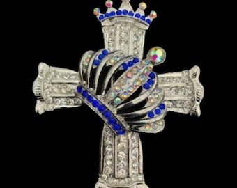 Bling Rhinestone Cross With Crown Cool Belt Buckles