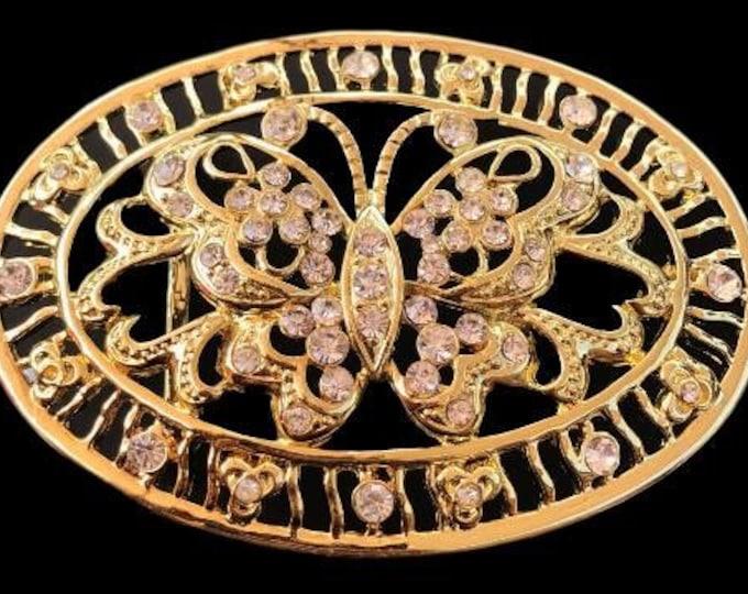 Rhinestone Butterfly Belt Buckle Rhinestones Butterflies Golden Bling Belts Buckles