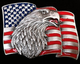 America USA U.S United States Country Old Glory Eagle Flag Belt Buckle