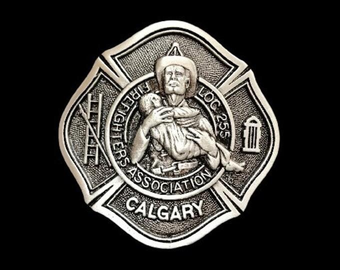 Fire Fighters Association Loc.255 Calgary Fireman Saving Lives Belt Buckle