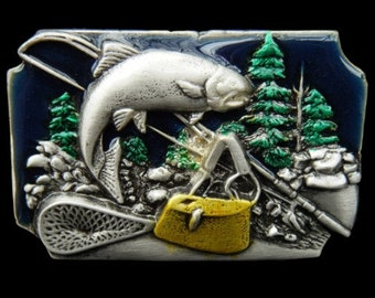 Fish Fishing Pole Bait Trout River Boat 3D Belt Buckle