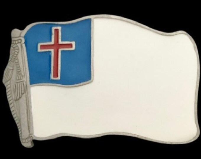 Christian Flag Christianity Cross Church Pennant Jesus Faith Gift Belt Buckle