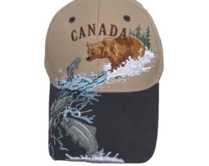 Canada Bear Fishing Embroidered Baseball Ball Cap Hat
