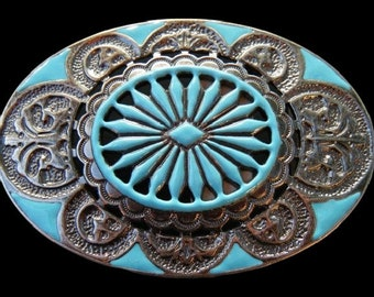 Turquoise Flower Classic Hippie Art Western Fashion Cowgirl Oval Belt Buckle Buckles