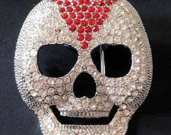 Clear Iced Skull Head Skeleton Punk Rock Belt Buckle