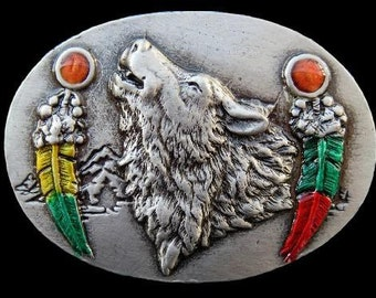 Wolf Wolves Feather Native Indian Animal Belt Buckle Buckles