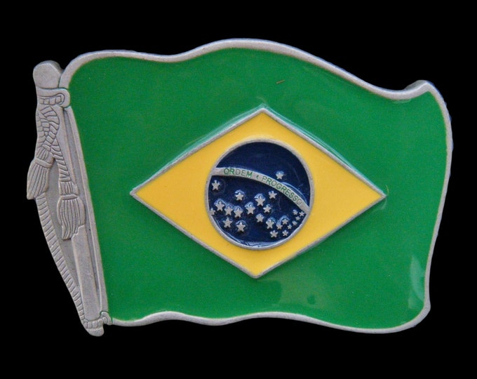 Brazil Brasil Brazilian Rio In Soccer Flag Belt Buckle