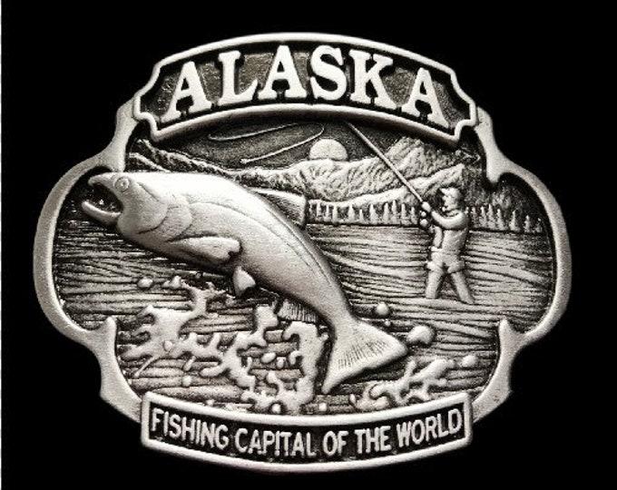Alaska Fishing Fish Fisherman Capital World Belt Buckle Buckles