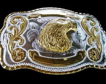 Golden American Wild Eagle Head Big Belt Buckle