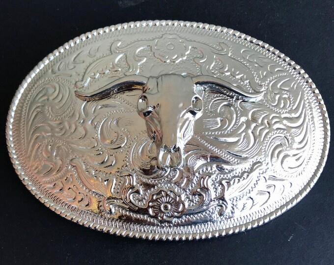 Silver Tone Western Texas Longhorn Steer Bull Rodeo Belt Buckle