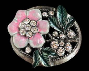 Flower Pink Rhinestones Girls Girly Fashion Belt Buckle Buckles